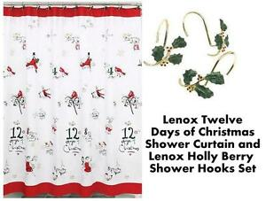 Image Is Loading LENOX Holiday Twelve 12 Days Christmas Shower Curtain
