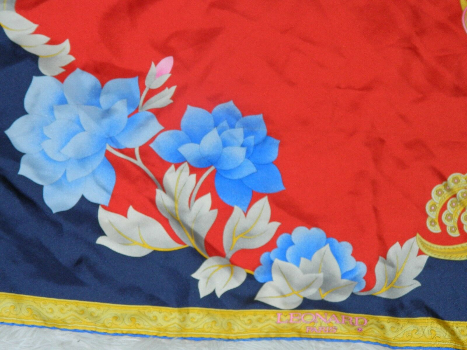 LEONARD PARIS SCARF SILK  BIG  FLORAL RED BLUE PI… - image 6