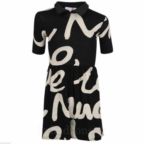 Girls Skater Dress Kids Hand Writing Collared Flared Franki Summer Party Dresses