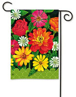 Garden Gate Bright Spring Flowers Over Green Gate Small Banner Flag 12.5x18
