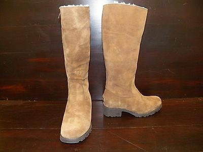 New Womens Ugg Broome Ii Suede Fawn Tall Sheepskin Boots