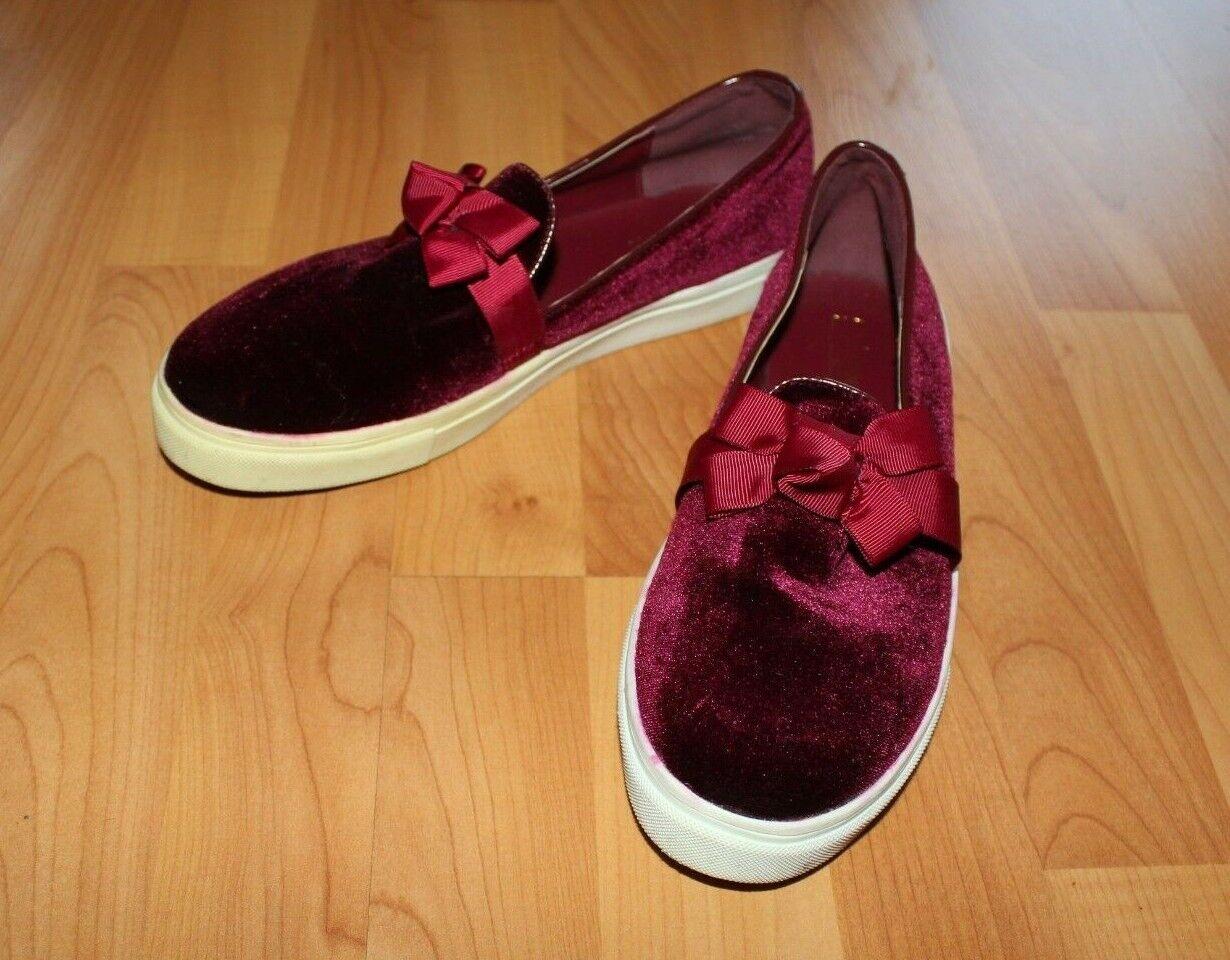 CATHERINE MALANDRINO Sneakers Sz 10 Burgundy Red Velvet Pull on Shoes Sneakers