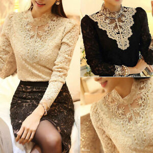 Fashion Long Sleeve Shirt Casual Lace Tulle Blouse Ladies Loose Top ... 624cd1c15
