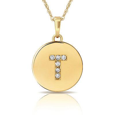"0.25 CT Diamond Alphabet Letter /""T"" Initial Pendant Necklace 14K White Gold"