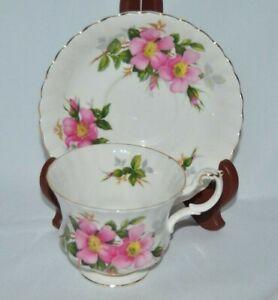 Beautiful-Vintage-Royal-Albert-034-Prairie-Rose-034-Fine-Bone-China-Teacup-amp-Saucer