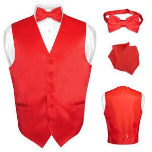 f0e5b21a2d3b Men's Dress Vest BOWTie Hanky Solid RED Color Bow Tie Set for Suit ...