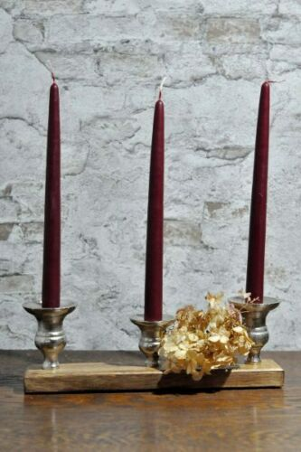 Kerzenhalter Kerzenständer Holz Metall Stab Tafel Kerzen Landhaus Brocante