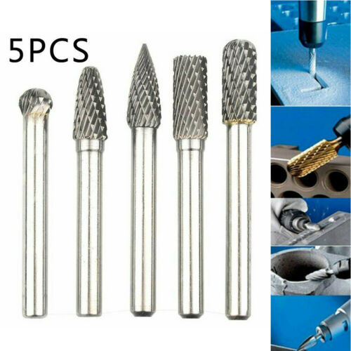 "5pcs New 1//4"" Tungsten Carbide Rotary Point Burr Die Grinder Shank Set Tool Bits"