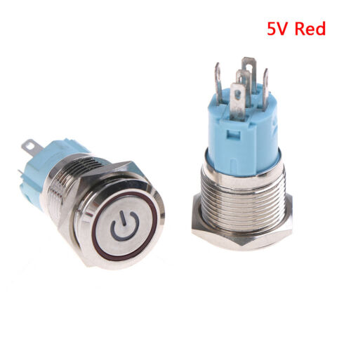 1x 16mm metal annular push button switch ring led momentary latching waterprooSP