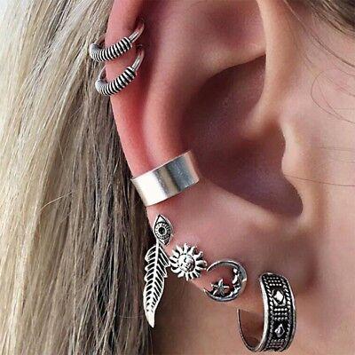 Retro Fashion Women Boho 7Pcs Tibetan Silver Ear Stud Earrings Jewelry Set Gift