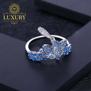Natural Swiss Blue Topaz Solid 925 Sterling Silver Butterfly Adjustable Ring