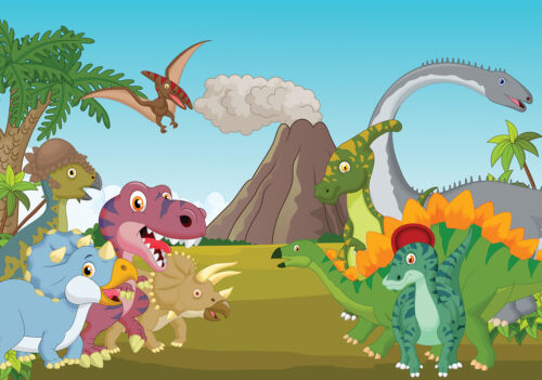 VLIES Fototapeten Fototapete Tapete Kind Dinosaurier Vulkan Dschungel 3FX11414V