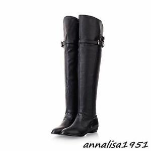 56e0f9934818d Damen Stiefel Overkneestiefel Unifarbe Boots mit kleinem Absatz ...