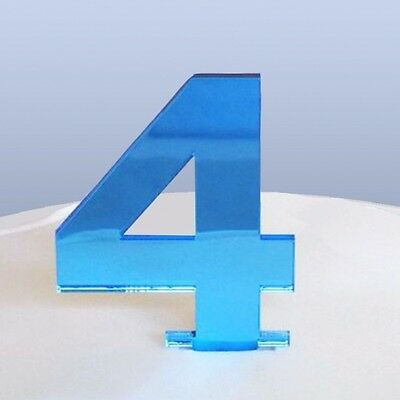 Home & Garden approx 6cm Number Height Kitchen, Dining & Bar Responsible Number 4 Cake Topper Blue Acrylic Mirror