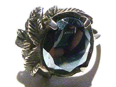 GREAT ART DECO ESTATE STERLING SILVER & HEMATITE SHIELD WOMENS VEGETATION RING