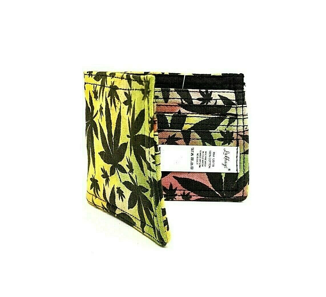 Lakhays Rasta Leaf Wallet Made in Nepal Six-Card Slots Approx. 4.5
