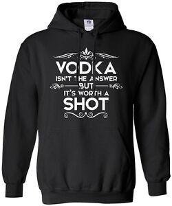 Threadrock Men's Vodka Isn't the Answer Hoodie Sweatshirt Funny Drinking