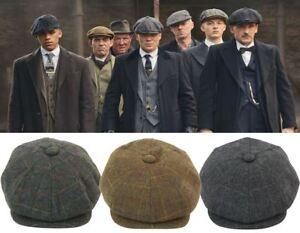 65b920868 Details about Mens Tweed Newsboy Cap Peaky Blinders Baker Boy Flat Check  Hat Green Grey Brown