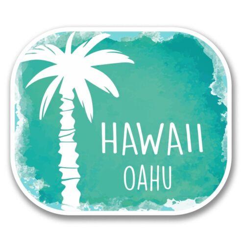 2 X Oahu Hawaii EE UU Flag Pegatina de vinilo Laptop Viaje Equipaje Coche #6313