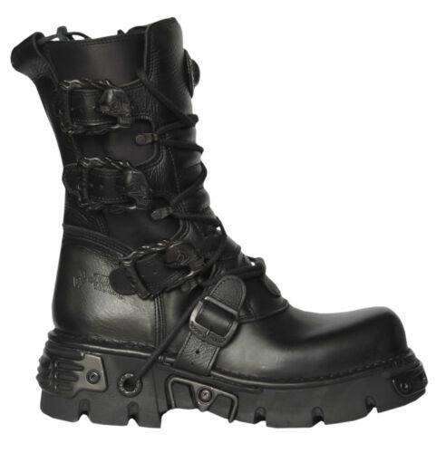 Boots S Reactor Goth Unisex Punk M 391 New Biker Rock Black 18 Metallic Sxa1n7nqO