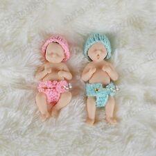 """4"""" Mini Full Body Solid Platinum Resin Reborn Baby Doll Miniature Newborn Twins"""
