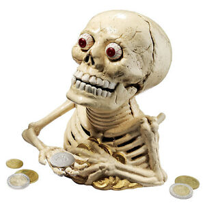 skeleton cast iron coin bank big eyes hungry skull mechanical cool