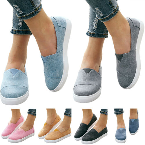 Women Casual Slip On Sneaker Comfort Canvas Round Toe Flats Shoes Jogging Sports