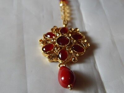 Indian Head Hair Tikka Headpiece Ind In Gold And Red Ebay