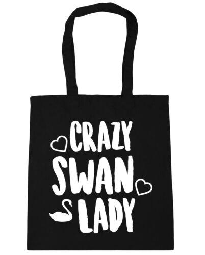 Crazy swan lady Tote Shopping Gym Beach Bag 42cm x38cm 10 litres