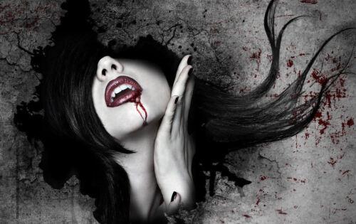gothique horror picture art Encadrée imprimer-vampire femme avec du sang sur son visage