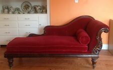 Victorian Fainting Couch Rosewood Cotton Velvet and Down Chaise Lounge