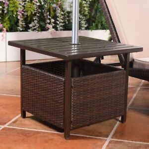 Image Is Loading Outdoor Bistro Side Table Stand Umbrella Patio Garden