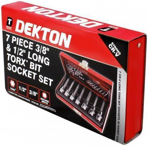 """DEKTON 7PC 3//8/"""" /& 1//2/"""" TORX BIT SOCKET SET TRX MALE STAR BITS LONG SERIES"""