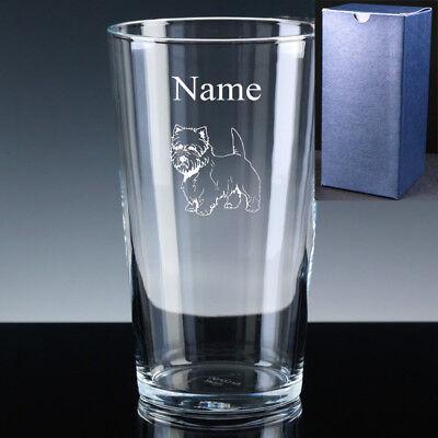 PERSONALISED WESTIE West Highland Terrier PINT Beer Glass FREE ENGRAVING Gift