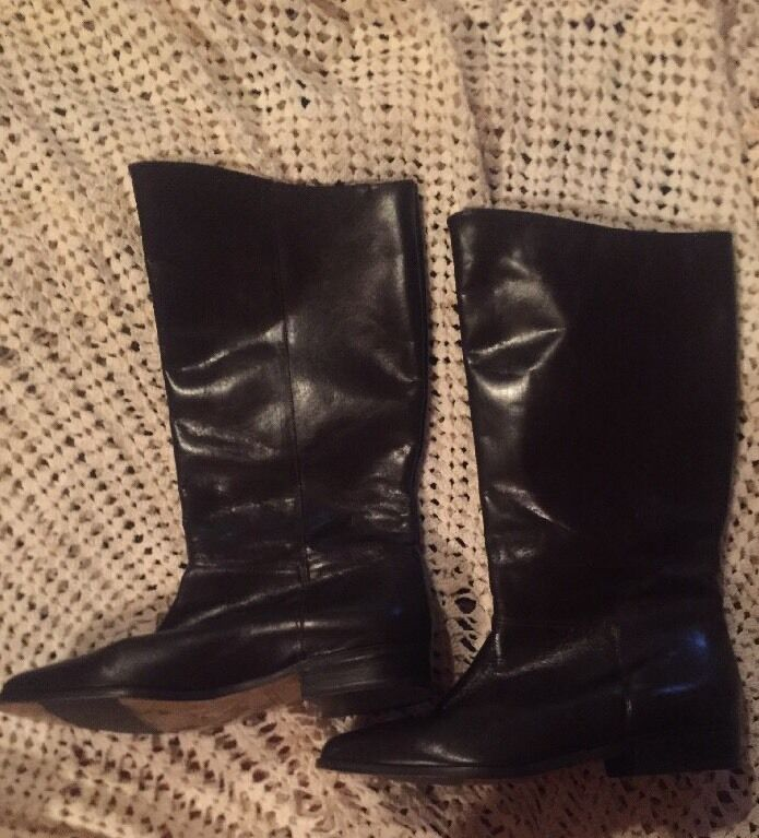 SEYCHELLES Women's Boots 9M Brown Leather Tall Low Heel Anthropologie riding