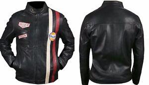 Steve McQueen Le Mans Driver Grandprix Gulf Black Leather Jacket