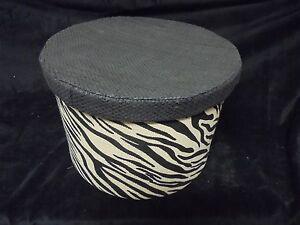 Unique Round Zebra Stripped Cloth Trinket Storage Container Black