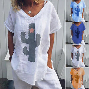 Femme-Cactus-Manche-courte-Loose-Casual-Hauts-T-shirts-Tops-Tee-Grand-Taille