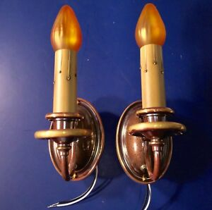 Early Brass Wall Sconce Fixtures Wired Pair 43a 2