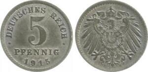 Empire 5 Pf. J.297 1915 E Mint State - Brilliant Uncirculated