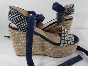2db9d7a7fc6 SCHUTZ Women s Electra Platform Denim Ankle Strap Wedge Sandals 9 ...