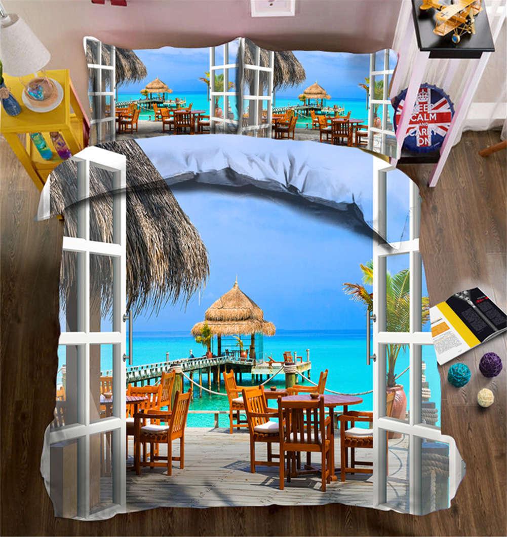 Sea scape Cottages 3D impression couette courtepointe volonté des couvertures PilFaible cas literie ensembles