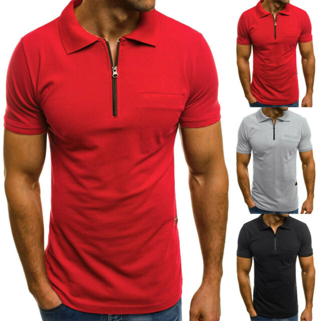 Personality Men Casual Slim Fit Short Sleeve Pocket T-Shirt Tops Blouse CA HOT