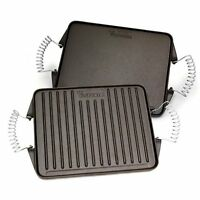 Victoria Reversible Cast Iron Rectangular Griddle With Removable Cool-touch Hand on sale
