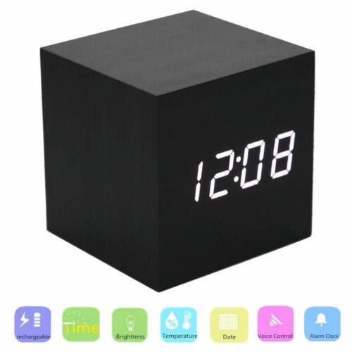 Holz LED Digital Würfel Wecker mit Datumsanzeige Sprach- und Touchaktivierung