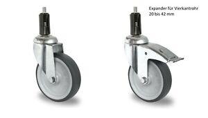 Lenkrolle-50-75-100-125-Gummi-grau-spurlos-Expander-Vierkant-Feststeller-Rolle