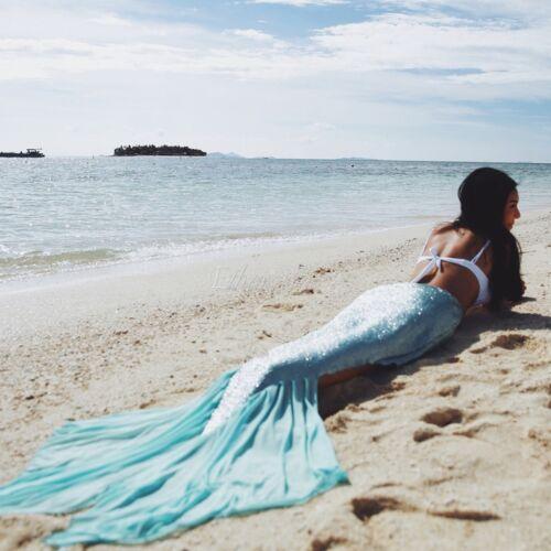 US Mermaid Fishtail Women Swimwear Costume Beach Maxi Skirt Photo Dress Cotume