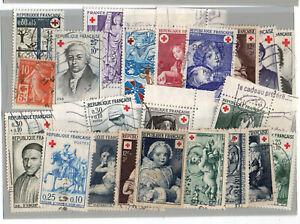 Plaquette-18-timbres-obliteres-France-Croix-Rouge