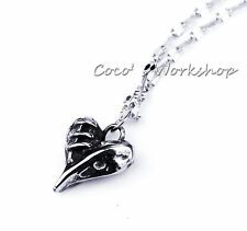STAINLESS STEEL SILVER STITCHED BROKEN HEART PENDANT MENS WOMENS NECKLACE GOTH