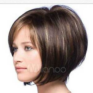 NEWJF1002 short brown mixed straight fashion lady health hair WIG wigs for women